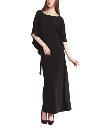 Black Angel-Sleeve Dress