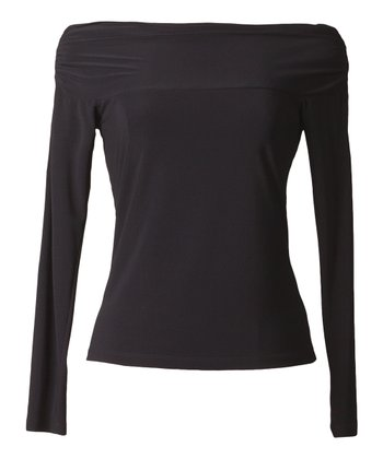Black Cowl Neck Long-Sleeve Top