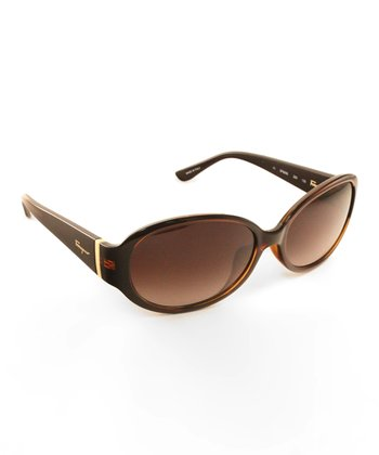 Pearl Dark Brown Oval Sunglasses