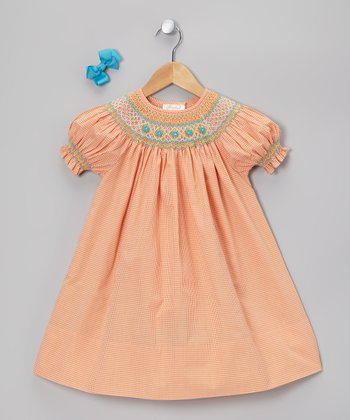 Orange & Blue Bishop Dress & Blue Clip - Infant & Toddler