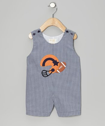 Dark Blue Football Gingham Shortalls - Infant & Toddler