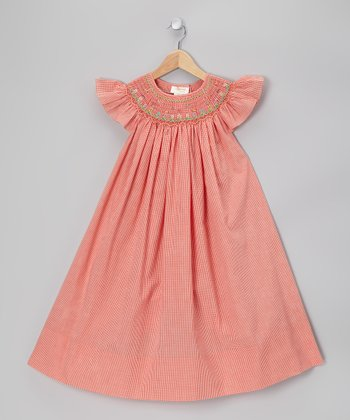 Orange Gingham Flower Field Smocked Angel-Sleeve Dress - Infant & Girls