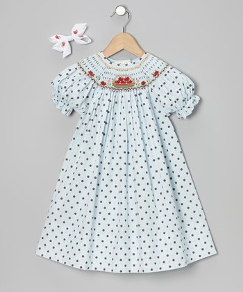Light Blue Apple Bishop Dress & White Bow Clip - Toddler