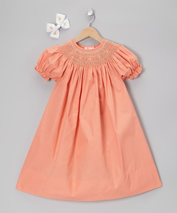 English Peach Bishop Dress & Clip - Toddler & Girls