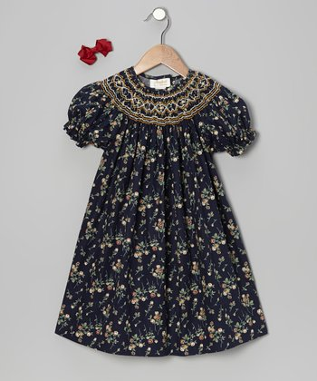 Navy Floral Bishop Dress & Bow Clip - Toddler & Girls