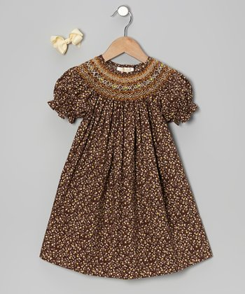 Brown Floral Bishop Dress & Bow Clip - Toddler & Girls