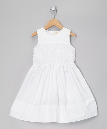 White Popcorn Shirred Dress - Toddler & Girls