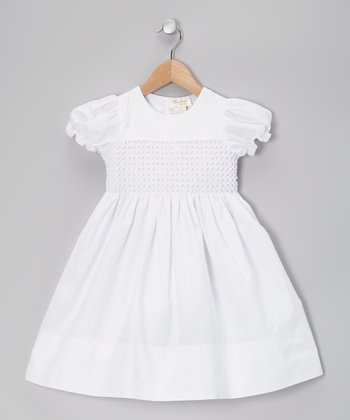 White Popcorn Shirred Puff-Sleeve Dress - Toddler & Girls