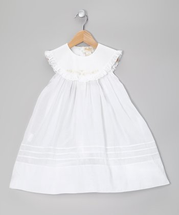 White Eyelet Lace Yoke Dress - Infant, Toddler & Girls
