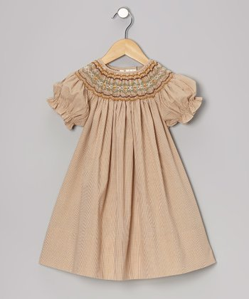 Beige Gingham Maggie Bishop Dress - Toddler & Girls