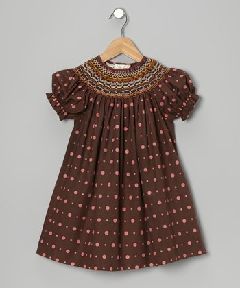 Brown & Pink Polka Dot Bishop Dress - Toddler & Girls