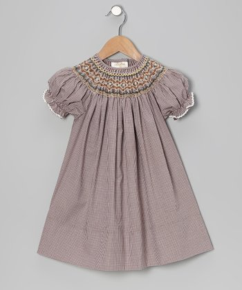 Brown Gingham English Bishop Dress - Toddler & Girls