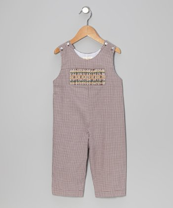 Brown Gingham Smocked Overalls - Infant