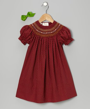 Maroon Polka Dot Bishop Dress & Green Bow Clip - Toddler