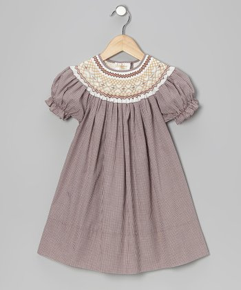 Brown & Cream English Bishop Dress - Infant, Toddler & Girls