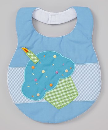 Blue Embroidered Sprinkle Cupcake Bib