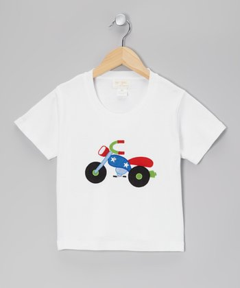 White Motorcycle Tee - Kids