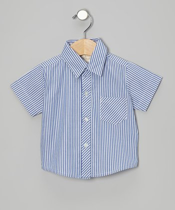 Blue Stripe Button-Up - Infant, Toddler & Boys