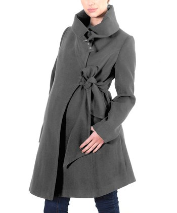Gray Tie-Waist Wool-Blend Maternity Jacket