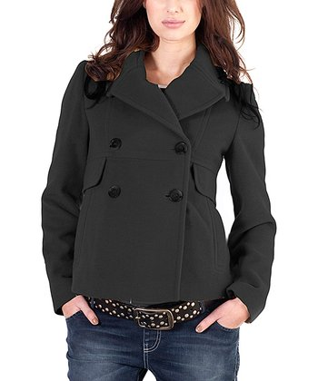 Black Wool-Blend Maternity Peacoat