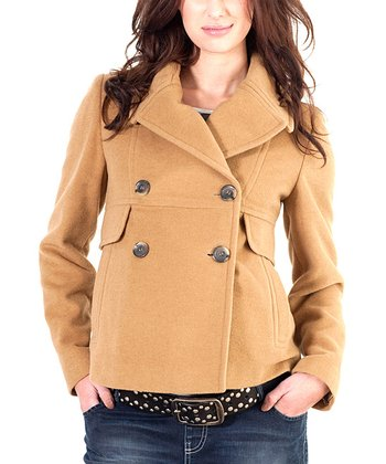 Khaki Wool-Blend Maternity Peacoat