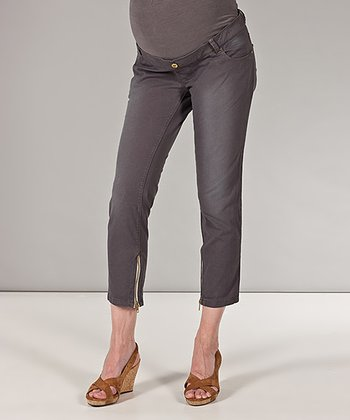 Taupe Over-Belly Maternity Cropped Pants