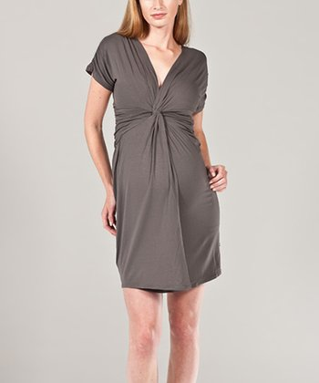 Anthracite Twist Maternity Dress