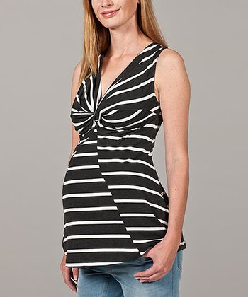 Black & White Twist Stripe Maternity Top
