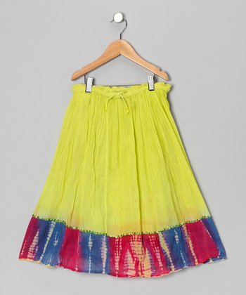 Lime Tie-Dye Trim Convertible Skirt - Toddler & Girls