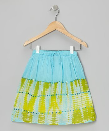 Turquoise Tie-Dye Sequin Convertible Skirt - Toddler & Girls