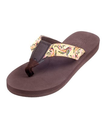 Brown & Yellow Paisley Bop 87 Flip-Flop