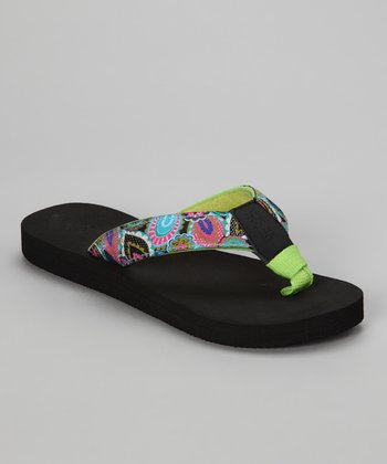 Black & Lime Green Paisley Bop 93 Flip-Flop