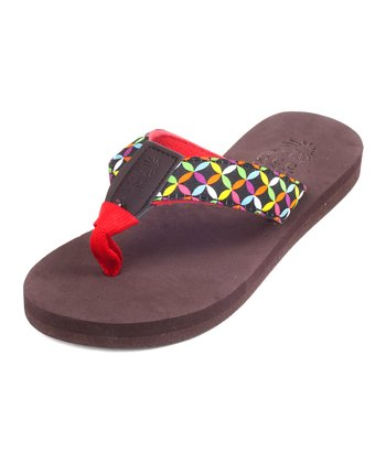 Brown & Red Basket Weave Bop 95 Flip-Flop - Women