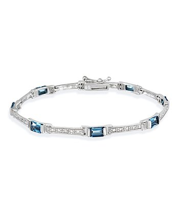 London Blue Topaz, Diamond & Sterling Silver Baguette Bracelet