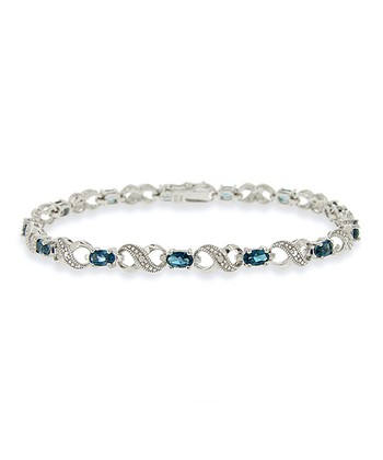 London Blue Topaz, Diamond & Sterling Silver Infinity Bracelet