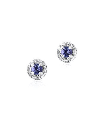Tanzanite, Diamond & Sterling Silver 7.03-mm Stud Earrings