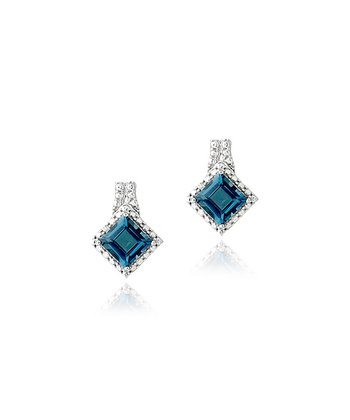 London Blue Topaz, Diamond & Silver Princess Stud Earrings