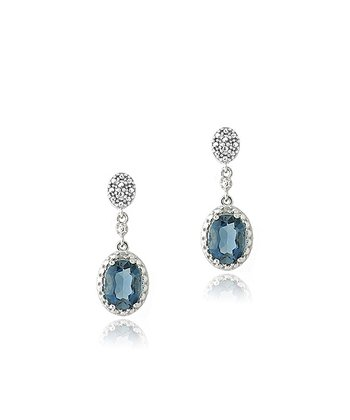 London Blue Topaz & Sterling Silver Framed Oval Drop Earrings