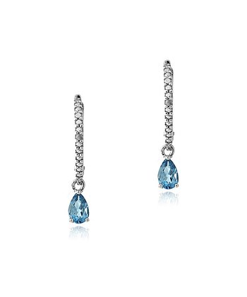 London Blue Topaz & Sterling Silver Pear Linear Drop Earrings