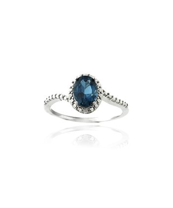 London Blue Topaz & Sterling Silver Oval Twist Ring