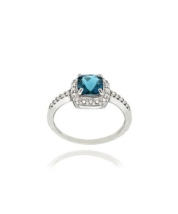 London Blue Topaz, Diamond & Sterling Silver Shimmer Ring