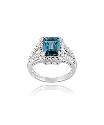 London Blue Topaz, Diamond & Sterling Silver Wide Rectangle Ring