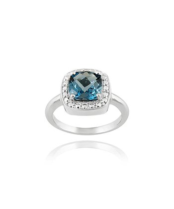 London Blue Topaz, Diamond & Sterling Silver Cushion Ring