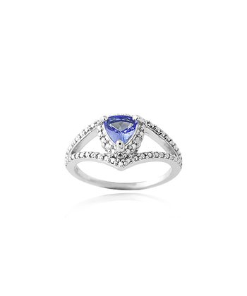 Tanzanite, Diamond & Sterling Silver Trilliant Ring