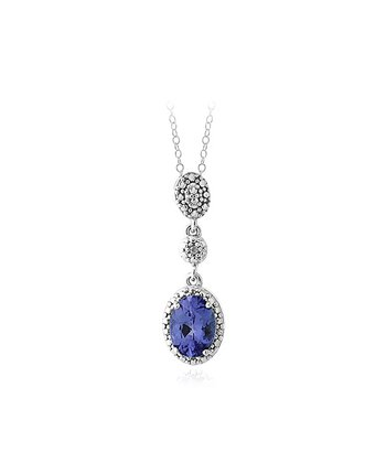 Tanzanite, Diamond & Sterling Silver Oval Drop Pendant Necklace