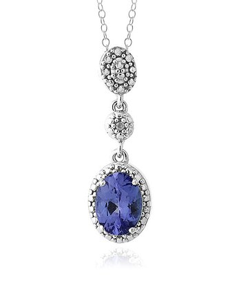 Tanzanite & Sterling Silver Oval Drop Pendant Necklace
