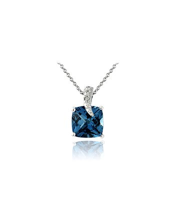 London Blue Topaz, Diamond & Silver Square Pendant Necklace