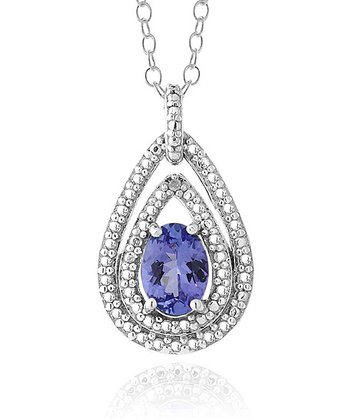 Tanzanite & Sterling Silver Double-Pear Pendant Necklace