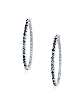 London Blue Topaz & Sterling Silver Hoop Earrings