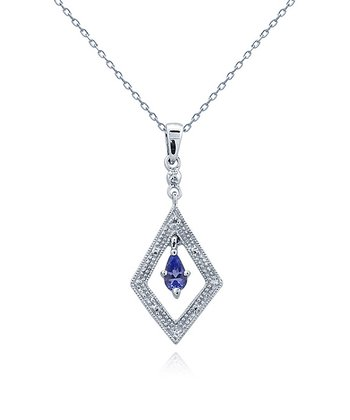 Tanzanite, Diamond & Sterling Silver Geometric Pendant Necklace